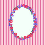 Floral frame on a pink striped background Stock Images