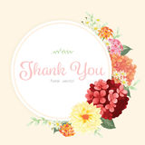 Floral frame of red and orange hydrangea flowers Royalty Free Stock Photos