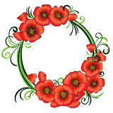 Floral frame with red poppies and green swirls. Stock Photos