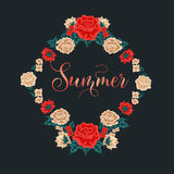 Floral Frame. Red Roses. Summer Time Stock Photography