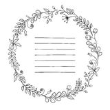 Floral frame. retro flowers arranged in a shape of the wreath for wedding invitations and cards Royalty Free Stock Image