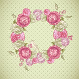 Floral frame with roses, birds and butterflies Stock Photo