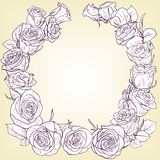 Floral frame with roses Royalty Free Stock Photography