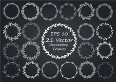 Floral Frame. Round handdrawn wreaths. Stock Photography