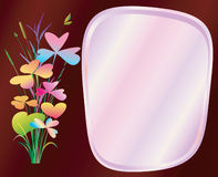 Floral Frame. Round Floral Frame with Leaves for a Greeting Card, vector illustration vector illustration