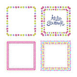 Floral frame set. With colorful exotic flowers. Nature square hand drawn border collection on white background. Vector decoration Royalty Free Stock Photography