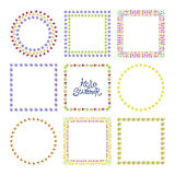 Floral frame set. Vector floral frame set with colorful exotic flowers. Nature square hand drawn border collection Royalty Free Stock Image