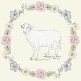 Floral frame and sheep Vintage engraving style Royalty Free Stock Photo