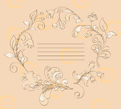 Floral frame. For a signature on a beige background. vector Stock Illustration