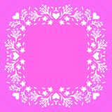 Floral frame with small flowers and hearts Royalty Free Stock Photos