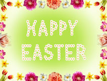 Floral frame with spring flowers and happy easter text Stock Photography