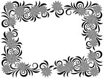 Floral frame with stencils. Stylized floral wreath with stencils isolated on the white background, hand drown vector illustration as a simple postcard Royalty Free Stock Image