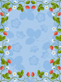Floral frame with a strawberry Royalty Free Stock Photo