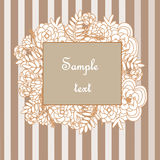 Floral frame on the striped background Royalty Free Stock Photos