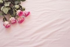 Floral frame with stunning pink roses on pink bed sheets in the bedroom. Copy space. Wedding, gift card, valentine`s day or mothe stock images