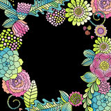 Floral frame, succulent, rose, leaves card vector Stock Photography