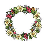 Floral frame with summer flowers. Floral bouquet circle whreath Royalty Free Stock Photography
