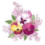 Floral frame with summer flowers. Floral bouquet with rose, narc Royalty Free Stock Image