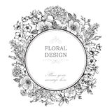 Floral frame with summer flowers. Floral bouquet with rose, narc Stock Photography