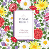 Floral frame with summer flowers and leaves. Floral greeting card Stock Images