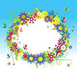 Floral frame, summer illustration Royalty Free Stock Image