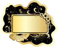 Floral frame for text. Gold color  with flowers, leafs and stars Stock Photos