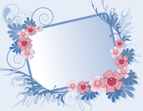 Floral frame for text. Decorated with flowers leaves, shoots and spots Royalty Free Stock Image