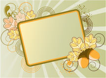 Floral frame for text. Decorated with oak leaves, acorns, shoots and spots Stock Image