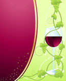 Floral frame for text. Frame for text decorated with grape vines and a glass of wine Royalty Free Stock Photography