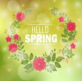 Floral frame with text hello spring and bokeh background vector illustration