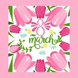 Floral frame with text 8 March floral greeting card. Floral frame with text 8 March floral vector greeting card. Happy woman`s day. Spring flowers royalty free illustration