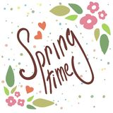 Floral frame with text. Spring time wording with hand drawn flowers stock illustration