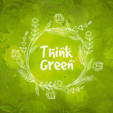 Floral frame for Think Green. Stock Photos