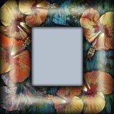 Floral frame, tropical motif Stock Photo