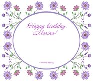 Floral frame of twigs with flowers with a field for text or photo. royalty free illustration