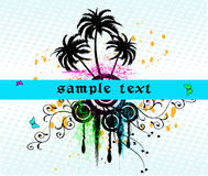 Floral   frame - vector. Floral background with palms and design elements - vector Royalty Free Stock Photos