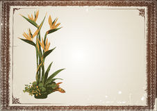 Floral in frame vector. This image is contain a antique picture frame and painted floral,with big place for your text Stock Images