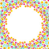 Floral Frame. Vector background. Colorful flowers arranged in a shape of the wreath Royalty Free Stock Image