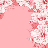 Floral frame. Vector Floral Frame for invitations or announcements with exotic hibiscus. Easy to edit Royalty Free Stock Images