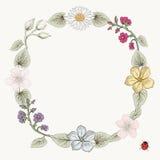 Floral frame vintage engraving style Stock Photos