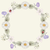 Floral frame vintage engraving style Stock Photography