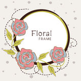 Floral frame with vintage flowers. Stock Photo