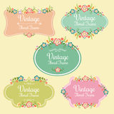 Floral Frame Vintage. Several badge or frame in floral theme Stock Photos