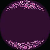 Floral frame with violet flowers on dark violet background Royalty Free Stock Photo