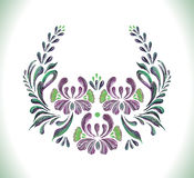 Floral frame.Violet flowers in folkloric style. Royalty Free Stock Images