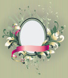 Floral frame on wallpaper Royalty Free Stock Photos