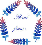 Floral frame with watercolor branches Stock Photo