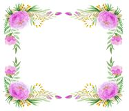 Floral Frame In Watercolor stock photography