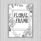 Floral frame with white roses. Brochure in trendy style Stock Photos