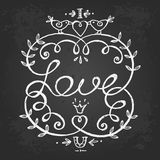 Floral frame with love lettering. Stock Photos